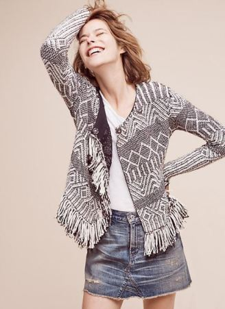 Fringed Architecture Sweater